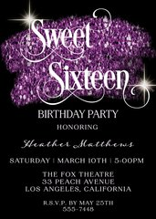 Sweet Sixteen Birthday Invitation Purple Glitter