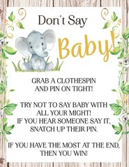 Don't Say Baby Elephant Rustic Sign