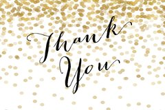 Gold Glitter Thank You Card
