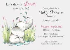 Baby Sprinkle Elephant Shower Invitation
