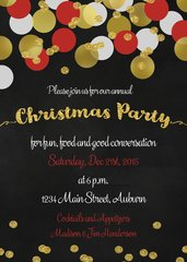 Gold Confetti Christmas Party Invitaiton