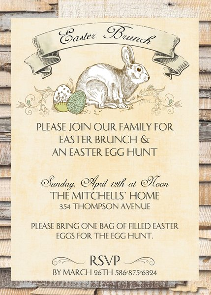 Rustic Easter Brunch Invitation