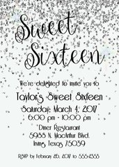 Silver Sweet Sixteen Birthday Invitation