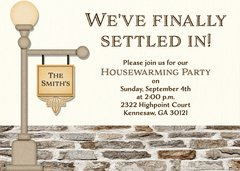 Lamp Post Brick Housewarming Invitation