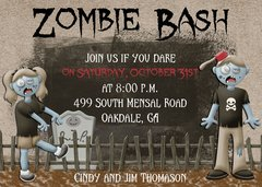 Zombie Bash Halloween Party Invitation
