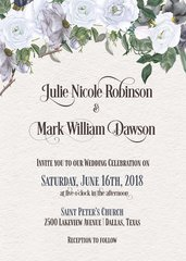 Watercolor Gray & Purple Rose Wedding Invitation