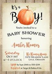 It's a Boy Pumpkin Baby Shower Invitation