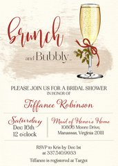 Christmas Brunch and Bubbly Bridal Shower Invitation
