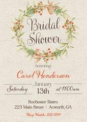 Winter Berry Wreath Bridal Shower Invitation
