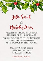 Holly Wedding Invitation