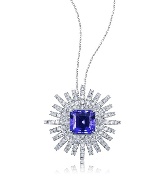 18k white gold octagon 494ct tanzanite pendant gstonetanzanite 18k white gold octagon 494ct tanzanite pendant mozeypictures Gallery