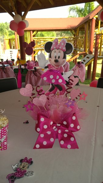 Minnie mouse pink centerpiece party decoration birthday for Decoration chambre minnie