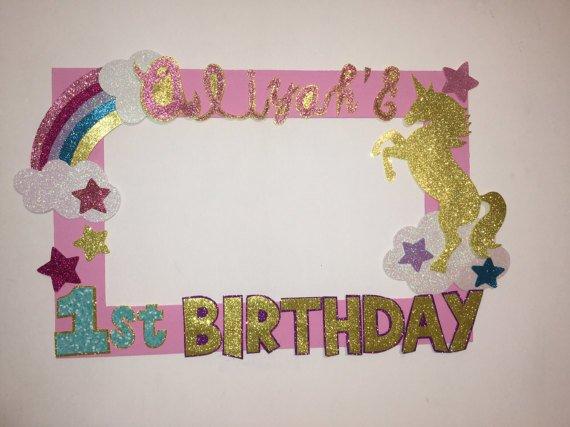 Unicorn Birthday Party Rainbow Unicorn Photo Booth Frame