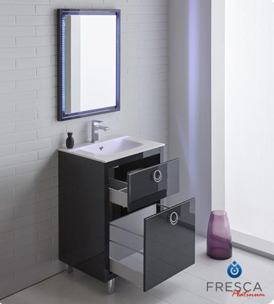 "Fresca Platinum Due 24"" Glossy Cobalt Bathroom Vanity"
