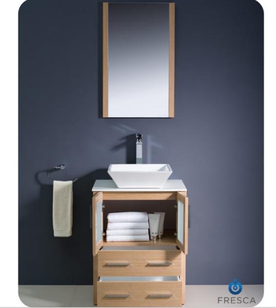 """Fresca Torino 24"""" Light Oak Modern Bathroom Vanity w/ Vessel Sink"""