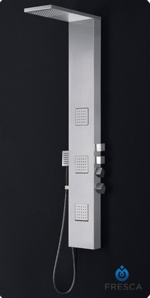 Modena Stainless Steel Thermostatic Shower Massage Panel in Brushed Silver