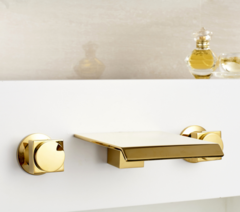 WALL Mounted Sistem GOLD/CH Faucet SPOUT BRASS