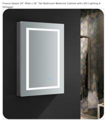 "Spazio 24"" Wide x 30"" Tall Bathroom Medicine Cabinet with LED Lighting & Defogger"