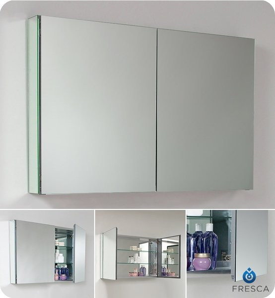 Wide Bathroom Medicine Cabinet w/ Mirrors 40""