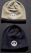 toque skull cap pale rainbow peace symbol