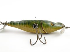 Wilcox Wiggler New Paris Ohio Pat. 1907 Jointed Minnow Glass Eyes are Perfect SUPER NICE AND RARE LURE!!!
