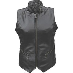 AL2304-Ladies High Collar Leather Vest