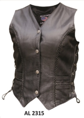 Ladies Braided Vest in Buffalo Leather