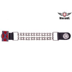 Rebel Flag Vest Extender With Motorcycle Chain