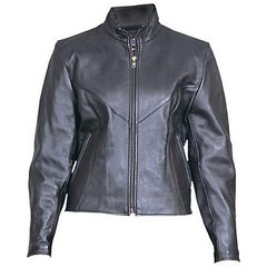 AL2160-Ladies Plain Black Leather Jacket