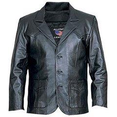 AL2650-Black Leather Blazer
