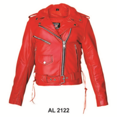AL 2122 Ladies Red Motorcycle Jacket