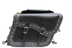 BLACK & GRAY PVC MOTORCYCLE SADDLE BAGS
