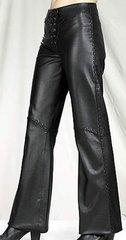 Womens Hip Hugger Leather Pants