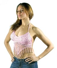 Ladies Bra Style Pink Long Halter Top