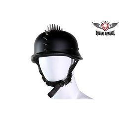 German Flat Black Motorcycle Helmet With Spikes