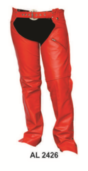 Ladies Red lined Biker Leather chaps