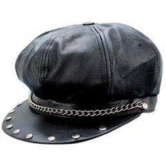 AL3227-Classic Black Leather Bikers Cap