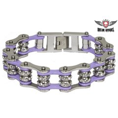 Violet Motorcycle Chain Bracelet with Gemstones