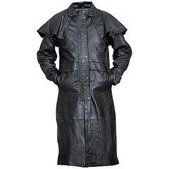 AL2601-Black Lambskin Leather Duster
