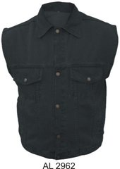 AL2962 Gun Pocket Men's Black Denim Vest