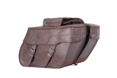 PVC Brown Motorcycle Saddlebag With Lock