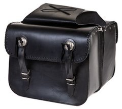 Leather Motorcycle Saddlebag With Braid & Concho