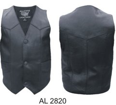 AL2820-Kids Plain Black Leather Vest