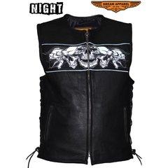 Leather Vest With Reflective Skulls, Gun Pockets