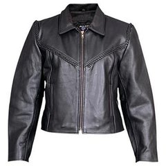 AL2131-Womens Leather Braided Motorcycle Jacket