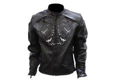 Men's Premium Leather Racer Jacket With Skulls
