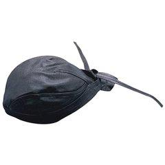 AL3230-Plain Black Leather Skull Cap