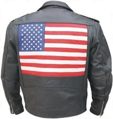 Men's Motorcycle Jacket with USA Flag