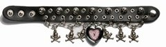 Motorcycle Watchband With Hanging Skulls