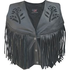 AL2307-Ladies Black Rose Vest